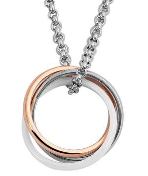 Akzent Halskette 3 Ringe Bicolor Edelstahlkette 47 cm Erbs-Halskette