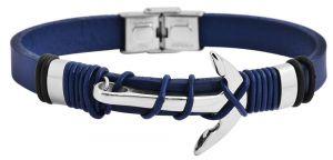 Akzent Lederarmband blau Echtleder Armband Anker