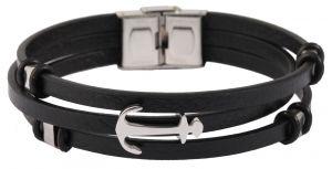 Akzent Lederarmband schwarz Echtleder Armband 3-reihig Anker