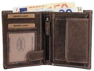 Geldbörse Leder Portemonnaie Akzent Wild Hochformat 9x12 cm braun