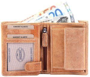 Geldbörse Leder Herren-Portemonnaie braun Akzent Hochformat 10x12 cm