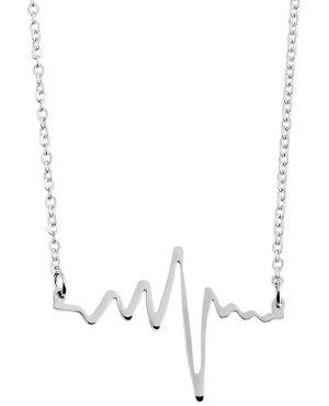 Halskette mit Herzschlag Anhänger Ankerkette 48 cm