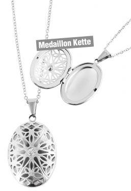 Foto Medaillon Bilder Amulett Oval Anhänger Edelstahl-Kette