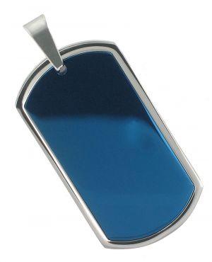 Dogtag Ketten-Anhänger blau glänzend für Halskette Akzent 1