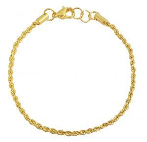 Edelstahl Kordel Armband goldfarbig glänzend 18 cm Armkettchen Kordelkette