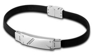 Lotus Style Herren Armband Leder LS1037-2/1 schwarz silber
