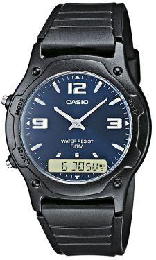 Casio Collection Armbanduhr AnaDigi schwarz blau AW-49HE-2AVEG