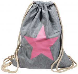 Turnbeutel Hipster Jutebeutel Sportbeutel Jute Rucksack Tasche grau Stern pink