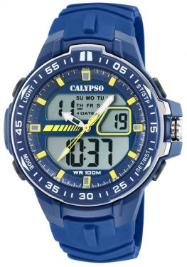 Calypso Armbanduhr Herrenuhr PU-Band blau K5766/1 AnaDigi Uhr