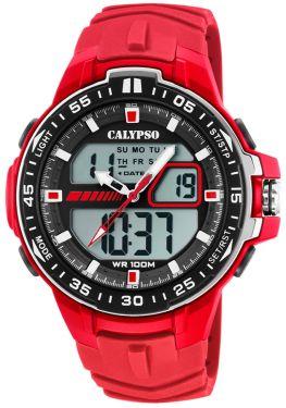 Calypso Armbanduhr Herrenuhr PU-Band rot K5766/2 AnaDigi Uhr