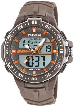 Calypso Armbanduhr Herrenuhr PU-Band braun K5766/3 AnaDigi Uhr