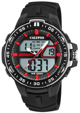 Calypso Armbanduhr Herrenuhr PU-Band schwarz K5766/4 AnaDigi Uhr