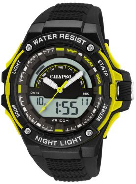 Calypso Armbanduhr Herrenuhr PU-Band schwarz K5768/1 AnaDigi Uhr