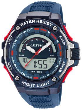 Calypso Armbanduhr Herrenuhr PU-Band blau K5768/3 AnaDigi Uhr