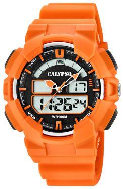 Calypso Digital analog Armbanduhr orange K5772/1