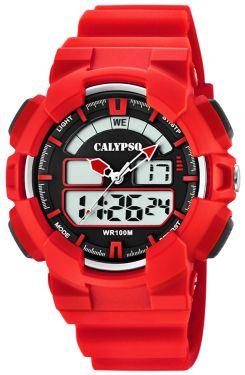 Calypso Digital analog Armbanduhr rot K5772/2