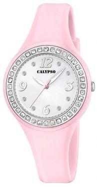 Calypso Armbanduhr rosa silberfarbig Damen Uhr K5567/C Strass