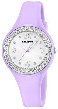 Calypso Armbanduhr lila silberfarbig Damen Uhr K5567/D Strass