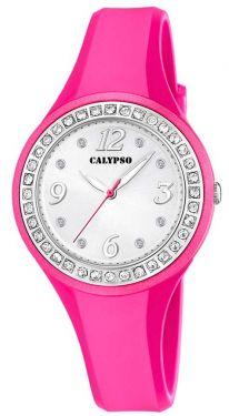 Calypso Armbanduhr pink silberfarbig Damen Uhr K5567/E Strass