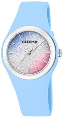 Calypso Mädchen Damen Armbanduhr K5754/4 blau multicolor glitzernd