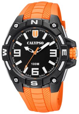 Calypso Herrenuhr Armbanduhr K5761/3 orange schwarz