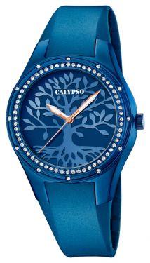 Calypso Uhr Damenuhr K5721/F Kautschukarmband blau Lebensbaum