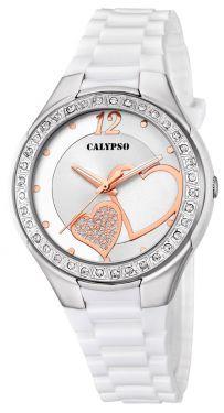 Calypso Damenuhr Armbanduhr weiß Herzchen K5679/F