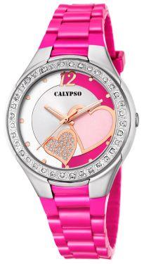 Calypso Damenuhr Armbanduhr pink Herzchen K5679/G