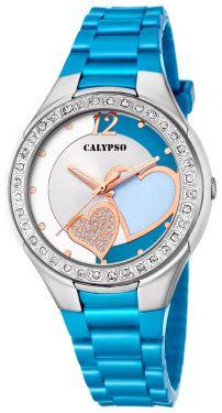 Calypso Damenuhr Armbanduhr hellblau Herzchen K5679/H