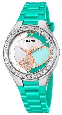 Calypso Damenuhr Armbanduhr grün Herzchen K5679/I