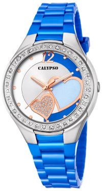 Calypso Damenuhr Armbanduhr blau Herzchen K5679/J