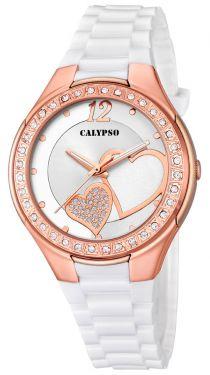 Calypso Damenuhr Armbanduhr weiß Herzchen K5679/L