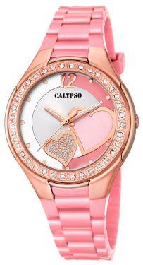 Calypso Damenuhr Armbanduhr rosa Herzchen K5679/M