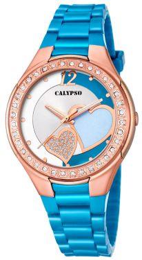 Calypso Damenuhr Armbanduhr hellblau Herzchen K5679/N
