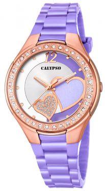 Calypso Damenuhr Armbanduhr lila Herzchen K5679/O