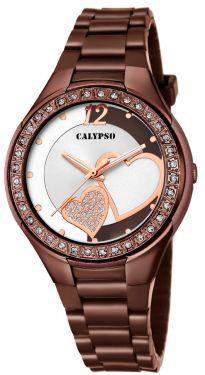 Calypso Damenuhr Armbanduhr braun Herzchen K5679/Q
