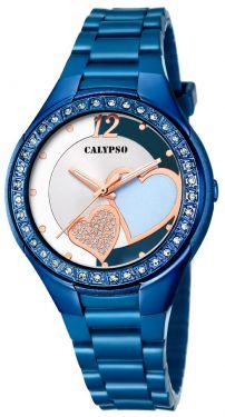 Calypso Damenuhr Armbanduhr blau Herzchen K5679/R