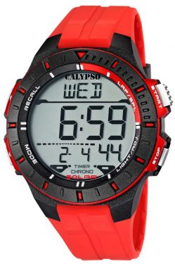 Calypso by Festina Herren Uhr Digital K5607/5 rot Digitaluhr Armbanduhr