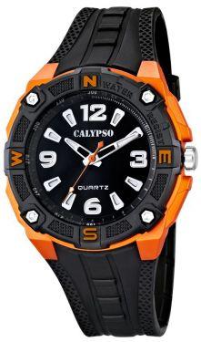 Herren Uhr Calypso by Festina K5634/2 schwarz orange Armbanduhr 10 ATM