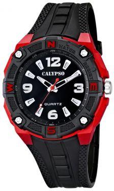 Herren Uhr Calypso by Festina K5634/4 Armbanduhr 10 ATM schwarz rot