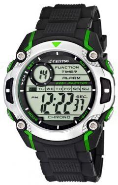 Calypso by Festina Uhr K5577/3 Digital schwarz grün Herrenuhr Digitaluhr