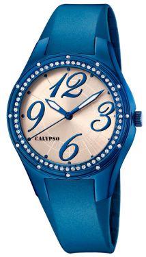 Calypso Uhr Mädchen Damenuhr K5721/3 Kautschukarmband blau