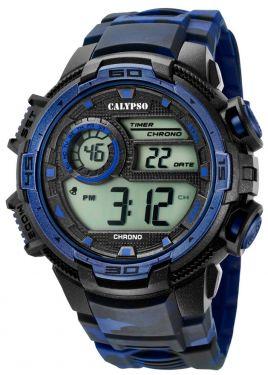 Calypso Armbanduhr Digital Herrenuhr K5723/1 schwarz blau