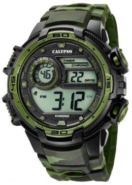 Calypso Armbanduhr Digital Herrenuhr K5723/2 schwarz grün