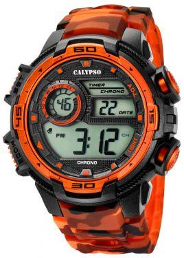 Calypso Armbanduhr Digital Herrenuhr K5723/5 schwarz orange