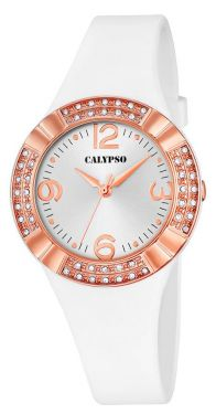 Damenuhr Calypso Armbanduhr K5659/1 weiß rose Silikonband Strass