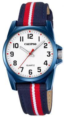 Calypso by Festina Kinder Armband Uhr K5707/5 blau rot Textil Leder