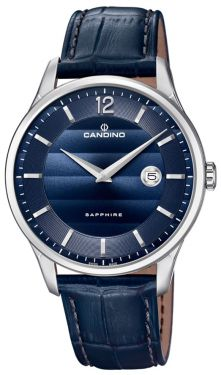 Herrenuhr Candino Armbanduhr Lederband blau Swiss Made C4638/3