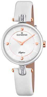 Candino Damenuhr C4658/1 Armbanduhr Lederarmband weiß
