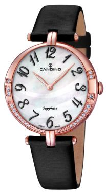 Candino Damen Armbanduhr C4602/4 Leder/Textilband schwarz Strass